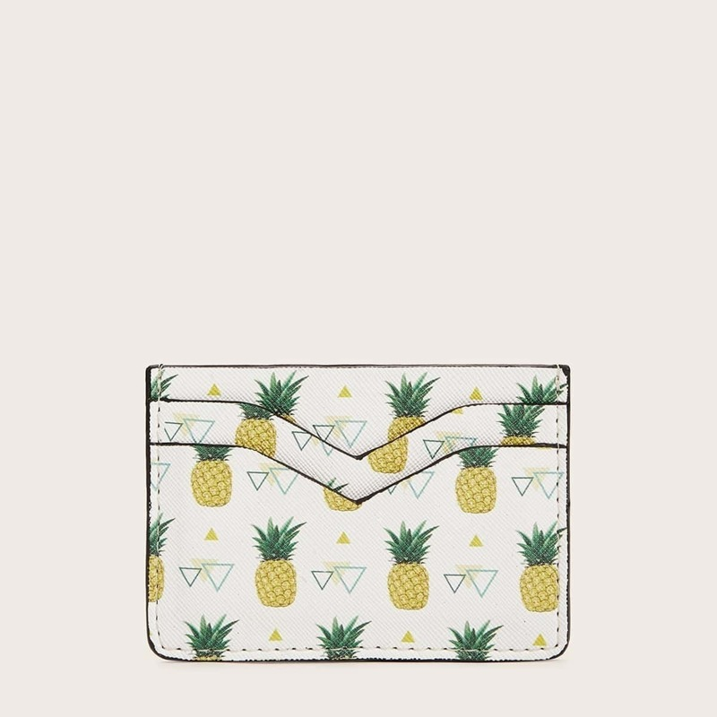 Pineapple & Triangle Pattern Card Holder, Multicolor