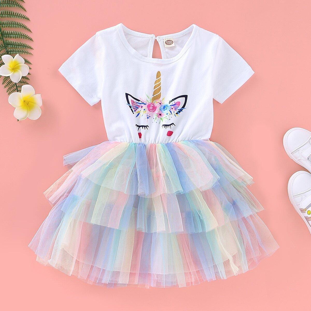 Многослойное платье с графическим принтом для девочек от SHEIN