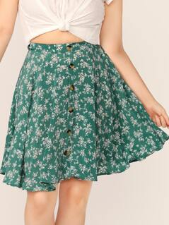 Plus Ditsy Floral Print Button Front Skirt