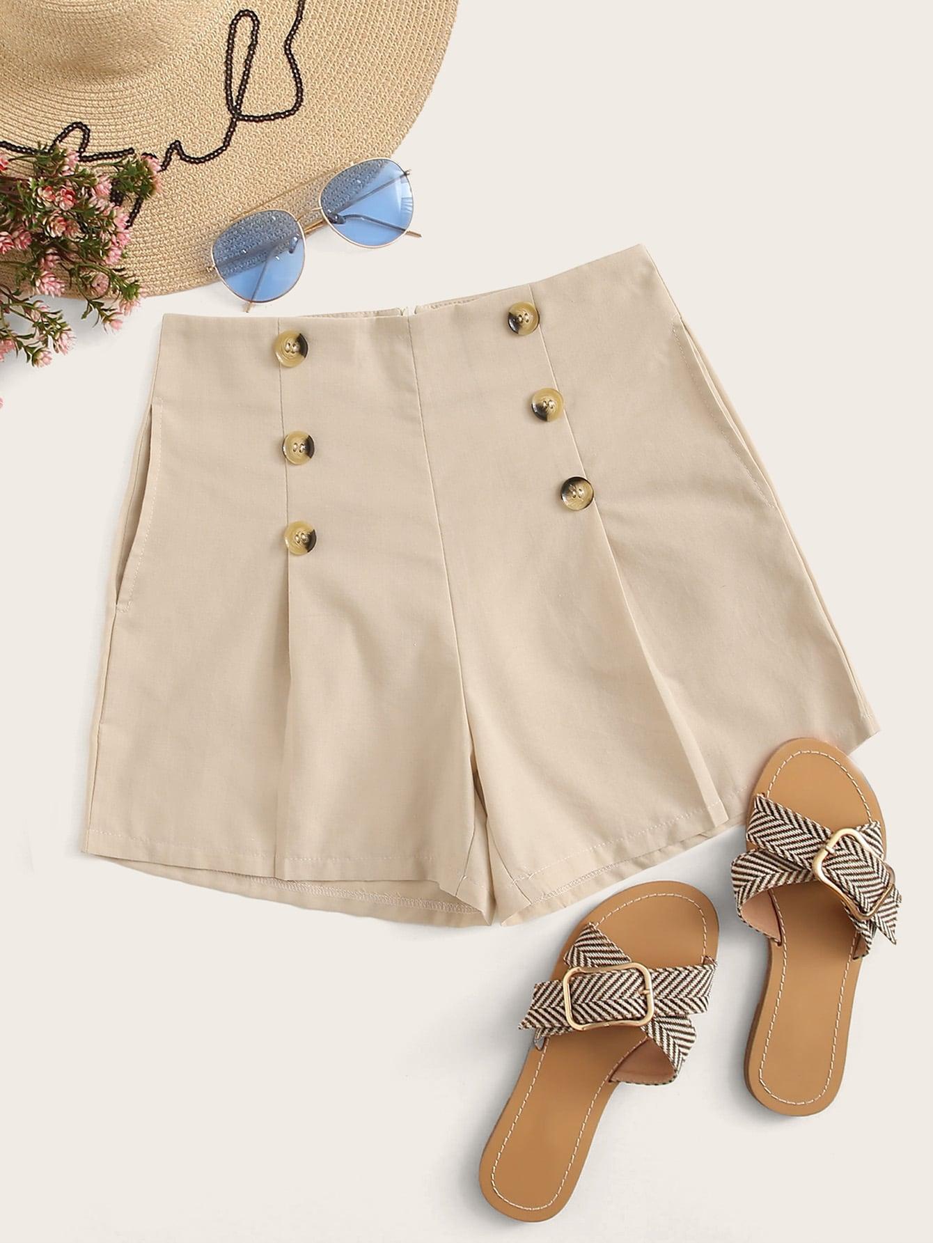 Фото - Шорты с карманом и пуговицами от SheIn цвета хаки