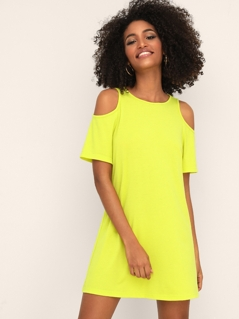 Neon Yellow Cold Shoulder Keyhole Back Tunic Dress