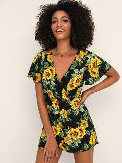 Butterfly Sleeve Botanical Wrap Romper