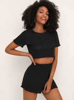 Lettuce Trim Crop Top and Rib-knit Shorts Set