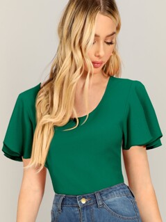 Flutter Sleeve Textured Fitted Top