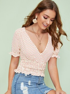 Plunging Neck Ruffle Trim Shirred Top