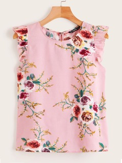 Ruffle Trim Botanical Print Top