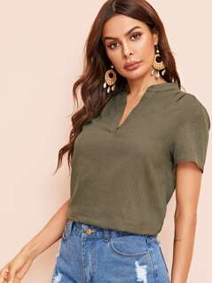 V-cut Neck Solid Top