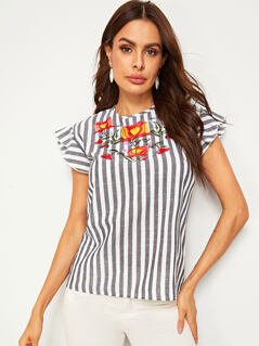 Embroidered Floral Ruffle Armhole Striped Blouse