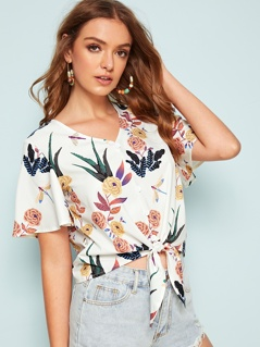 Buttoned Tie Front Floral Print Top