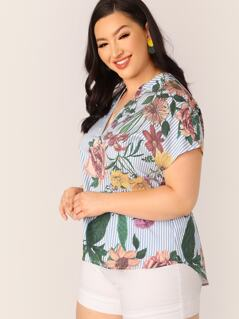 Plus Notch Neck Striped and Floral Print Top
