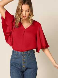 Exaggerated Flutter Sleeve Solid Top