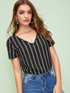 V Neck Rolled Cuff Striped Blouse