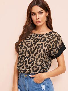 Rolled Cuff Leopard Top