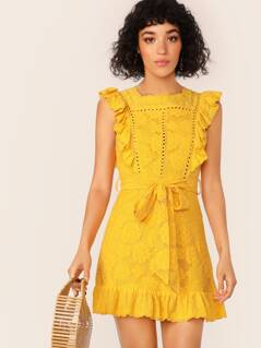 Allover Lace Ruffle Trim Self Belted Dress