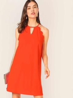 Keyhole Neck Scallop Trim Tunic Halter Dress