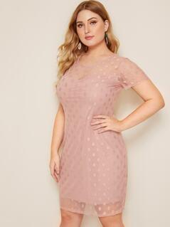 Plus Dobby Mesh Overlay Dress