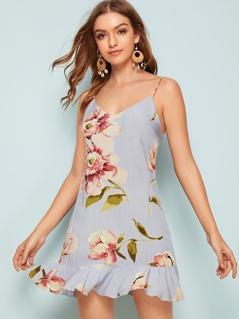 Floral Print Ruffle Hem Cami Dress