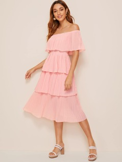 Foldover Front Off Shoulder Layered Pleated Dress