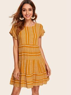 Allover Print Flounce Hem Dress