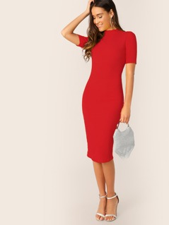 Mock-neck Solid Rib-knit Bodycon Dress