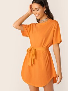 Curved Hem Belted Tee Dress