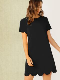 Scallop Edge Tunic Dress