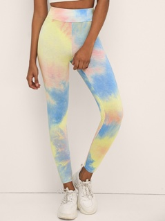 Wide Band Waist Tie Dye Leggings