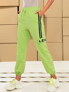 Neon Lime Striped Side Flap Pocket Tapered Pants