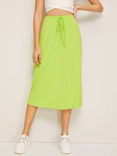 Neon Lime Drawstring Waist Skirt