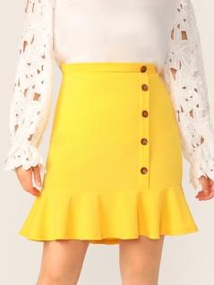 Plus Neon Yellow Buttoned Front Ruffle Hem Skirt