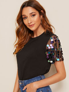 Sequin Mesh Sleeve Top