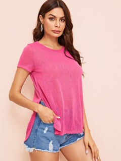 Split Side Curved Hem Semi Sheer Top