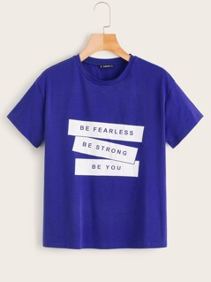 Slogan Print Short Sleeve Top