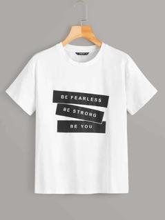 Short Sleeve Slogan Print Tee