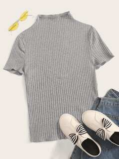 Mock Neck Lettuce Trim Rib-knit Tee