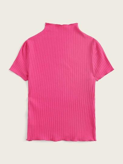 Фото 2 - Однотонная трикотажная футболка от SheIn черного цвета