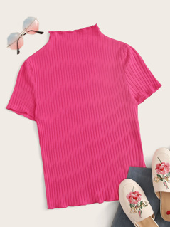 Neon Pink Lettuce Edge Rib-knit Tee