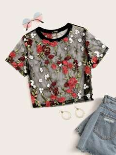 Plus Embroidered Botanical Mesh Top