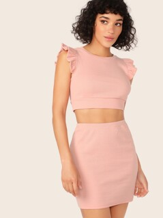 Ruffle Armhole Rib-knit Tank Top and Skirt Set