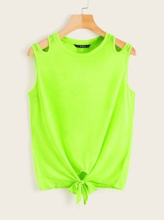 Neon Green Cut-out Shoulder Knotted Top