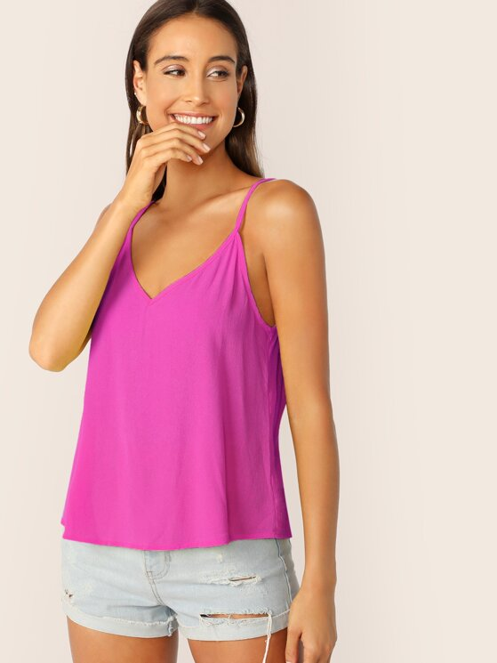 b0b67461750 Double V-neck Solid Cami Top