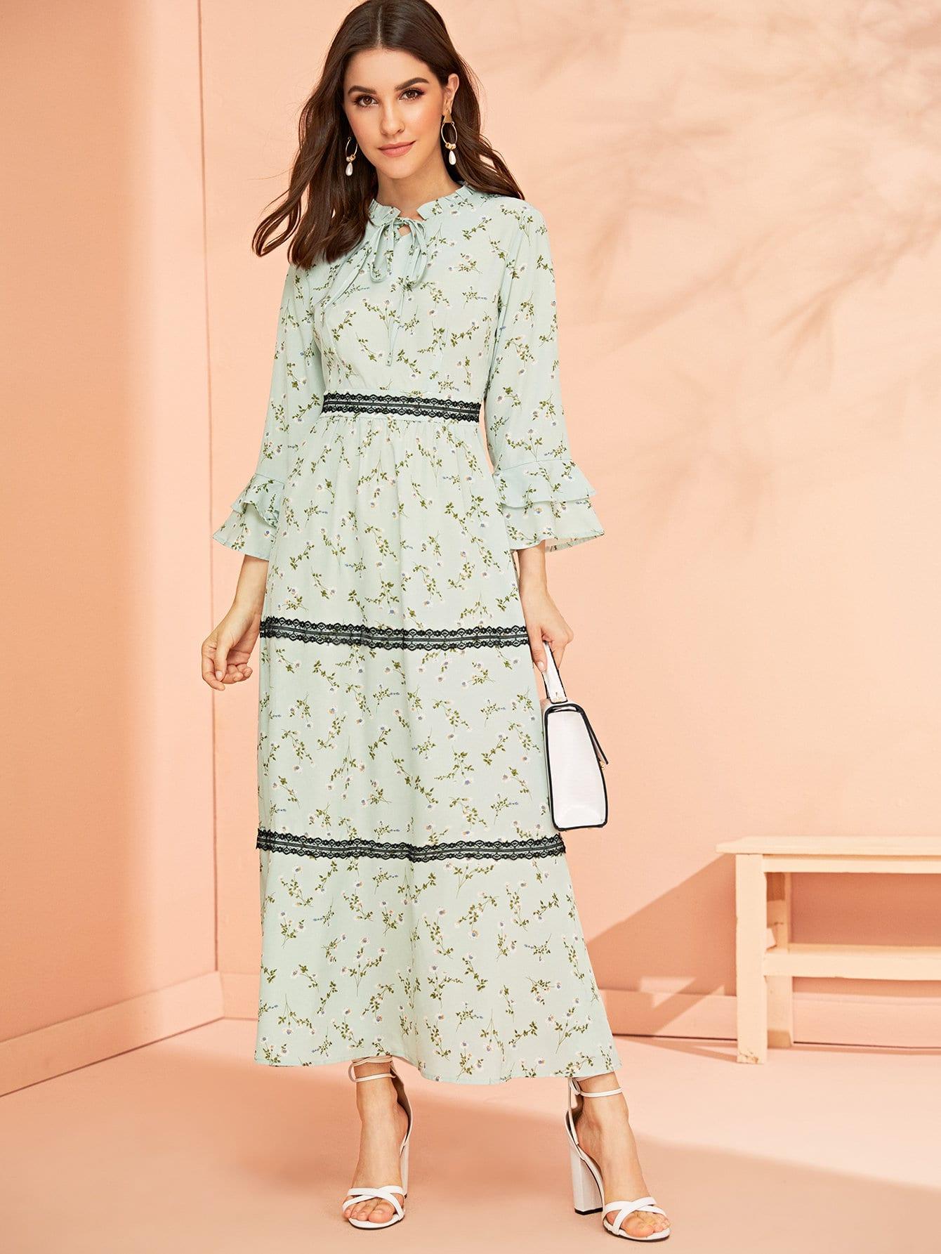 Фото - Цветочное платье с многослойным рукавом и кружевом от SheIn цвет зелёные