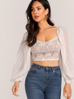 Pleated Lantern Sleeve Lace Crop Top