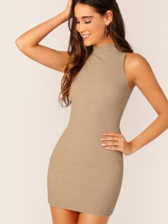 Mock-neck Sleeveless Rib-knit Bodycon Dress
