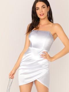 Wrap Hem Satin Tube Dress With Transparent Shoulder Strap