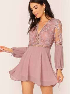 Lace Insert Embroidered Mesh Bodice Drawstring Cuff Dress