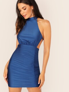 Ruched Detail Cut-out Bodycon Halter Dress