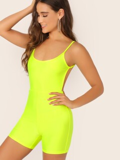 Neon Yellow Open Back Unitard Romper Without Belt