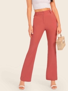 Pocket Detail Flared Leg Pants