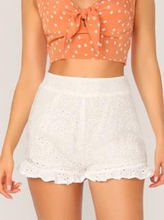 Wide Waistband Ruffle Hem Schiffy Shorts